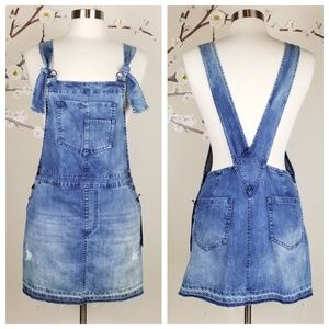 Forever 21 | Distressed Denim Overall Dress, Small